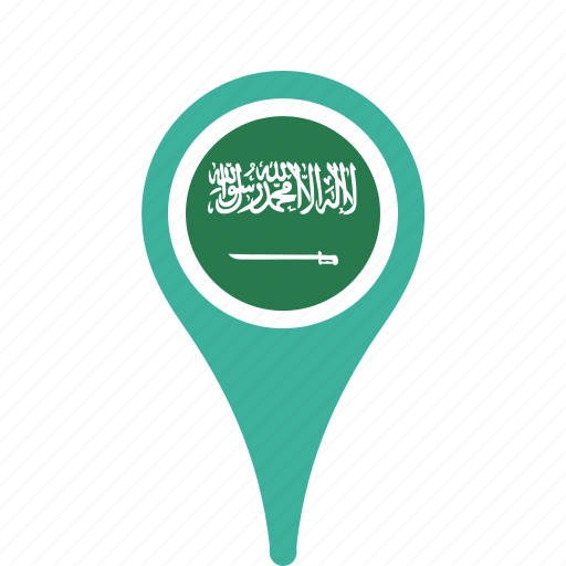 arabia, county, flag, map, national, pin, saudi icon