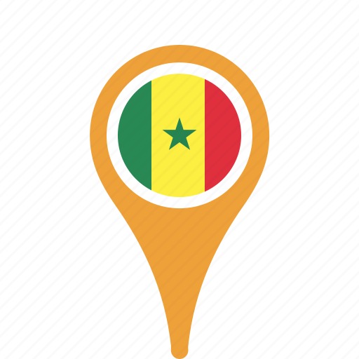 country, county, flag, map, national, pin, senegal icon