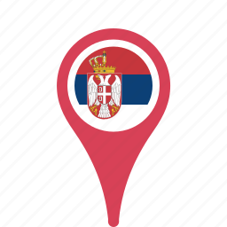 country, county, flag, map, national, pin, serbia icon