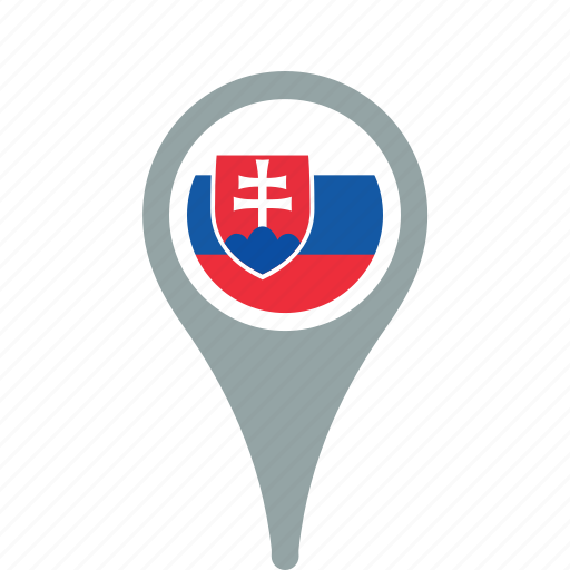 country, county, flag, map, national, pin, slovakia icon
