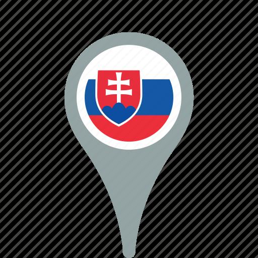 county, flag, map, national, pin, slovakia icon