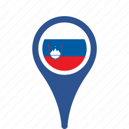 county, flag, map, national, pin, slovenia icon