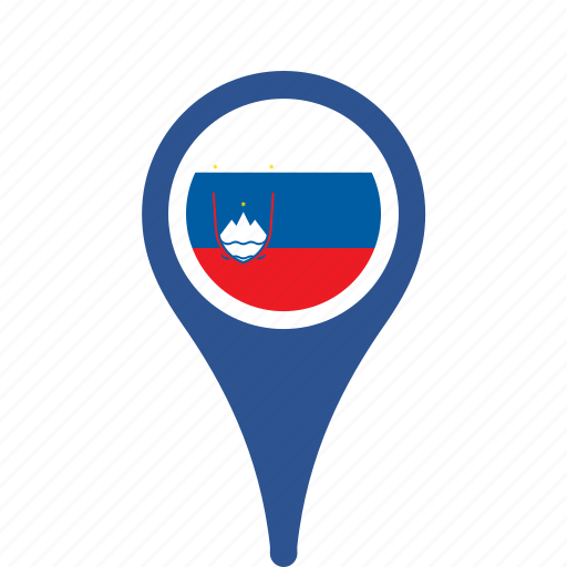 country, county, flag, map, national, pin, slovenia icon