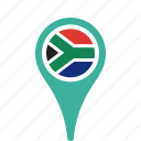 africa, country, county, flag, map, national, pin, south icon