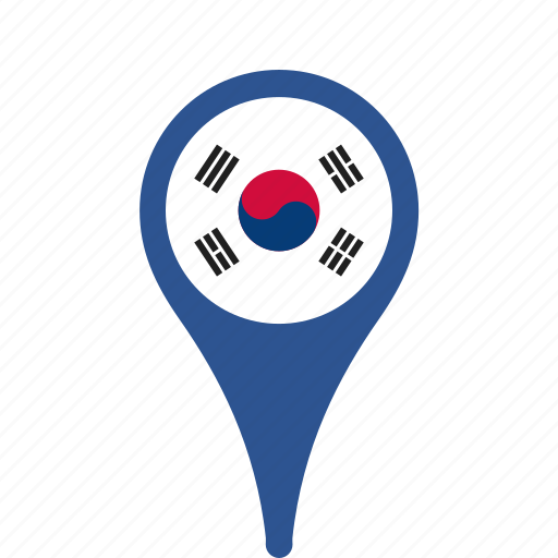 county, flag, korea, map, national, pin, south icon
