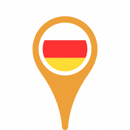 country, county, flag, map, national, ossetia, pin, south icon