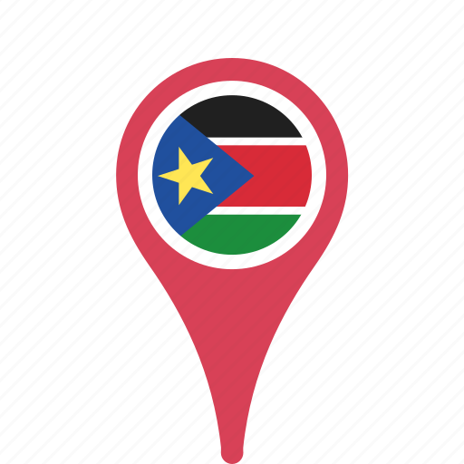 county, flag, map, national, pin, south, sudan icon