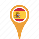 country, county, flag, map, national, pin, spain icon