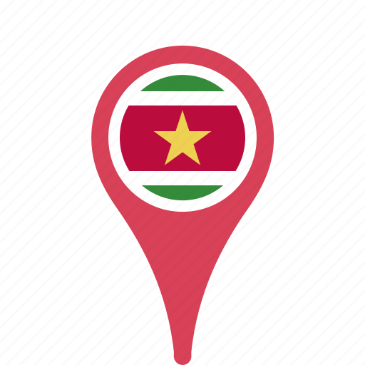 county, flag, map, national, pin, suriname icon