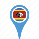 county, flag, map, national, pin, swaziland icon