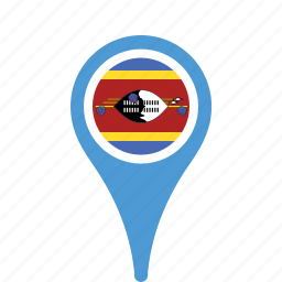 country, county, flag, map, national, pin, swaziland icon