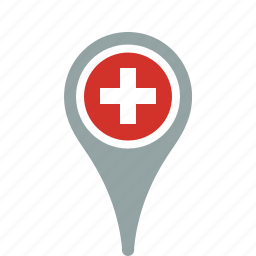 country, county, flag, map, national, pantone, pin, switzerland icon