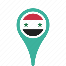 county, flag, map, national, pin, syria icon