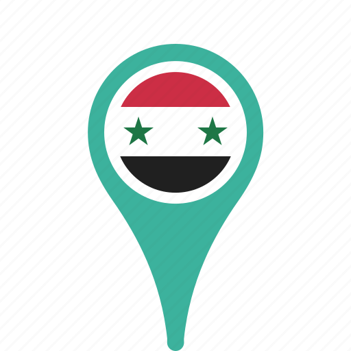 country, county, flag, map, national, pin, syria icon