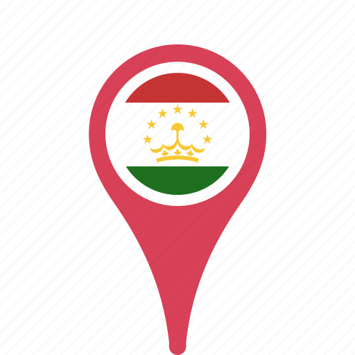 country, county, flag, map, national, pin, tajikistan icon