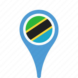 county, flag, map, national, pin, tanzania icon