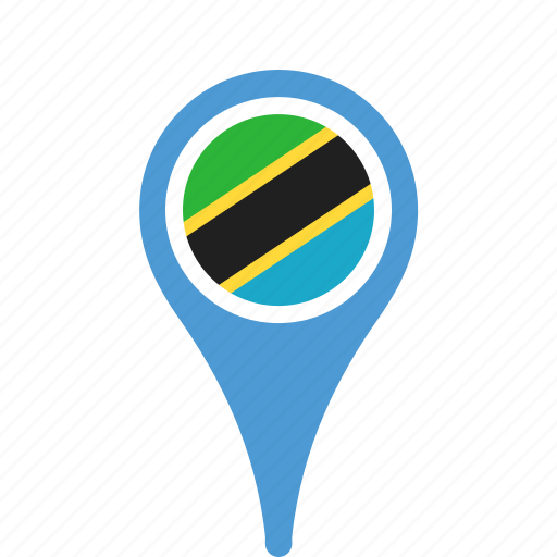 country, county, flag, map, national, pin, tanzania icon