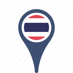 county, flag, map, national, pin, thailand icon