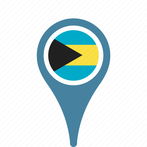 bahamas, country, county, flag, map, national, pin, the icon
