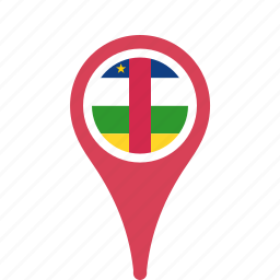 african, central, county, flag, map, national, pin, republic, the icon
