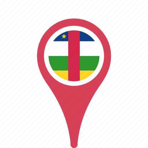 african, central, country, county, flag, map, national, pin, republic, the icon