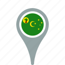 cocos, county, flag, islands, map, national, pin, the icon