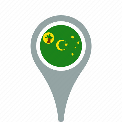 cocos, country, county, flag, islands, map, national, pin, the icon