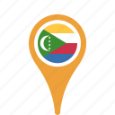 comoros, county, flag, map, national, pin, the icon