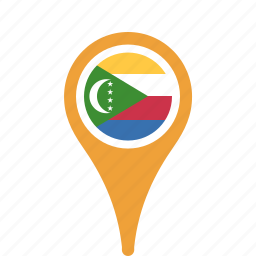comoros, country, county, flag, map, national, pin, the icon