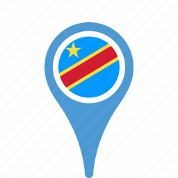congo, county, democratic, flag, map, national, of, pin, republic, the icon
