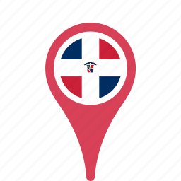 county, dominican, flag, map, national, pin, republic, the icon