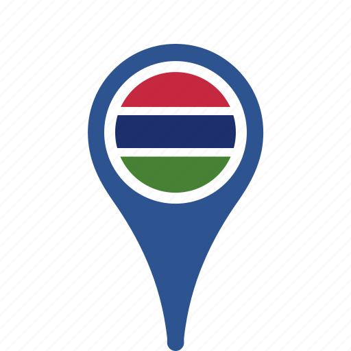 county, flag, gambia, map, national, pin, the icon