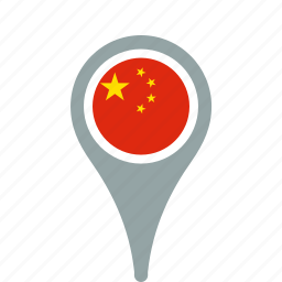 china, county, flag, map, national, of, peoples, pin, republic, the icon