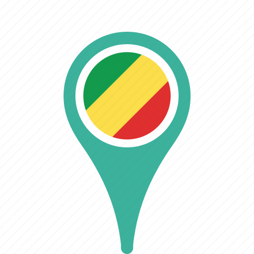 congo, county, flag, map, national, of, pin, republic, the icon