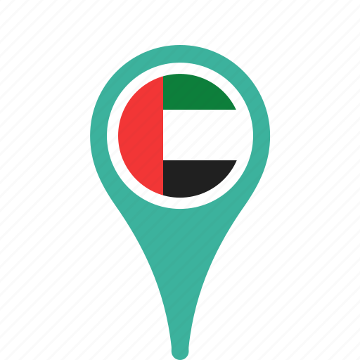 arab, country, county, emirates, flag, map, national, pin, the, united icon