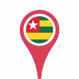 county, flag, map, national, pin, togo icon