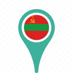county, flag, map, national, pin, transnistria icon