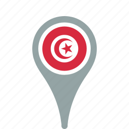 county, flag, map, national, pin, tunisia icon