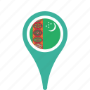 country, county, flag, map, national, pin, turkmenistan icon