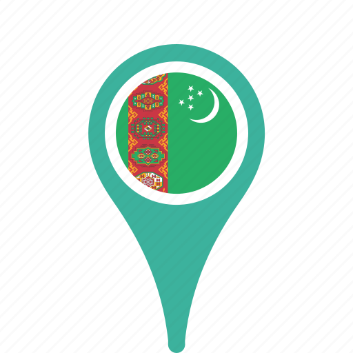 county, flag, map, national, pin, turkmenistan icon