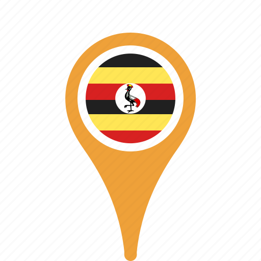 country, county, flag, map, national, pin, uganda icon