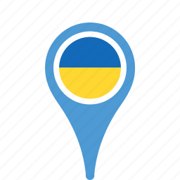 county, flag, map, national, pin, ukraine icon