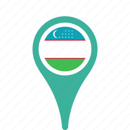 country, county, flag, map, national, pin, uzbekistan icon