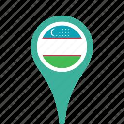 county, flag, map, national, pin, uzbekistan icon