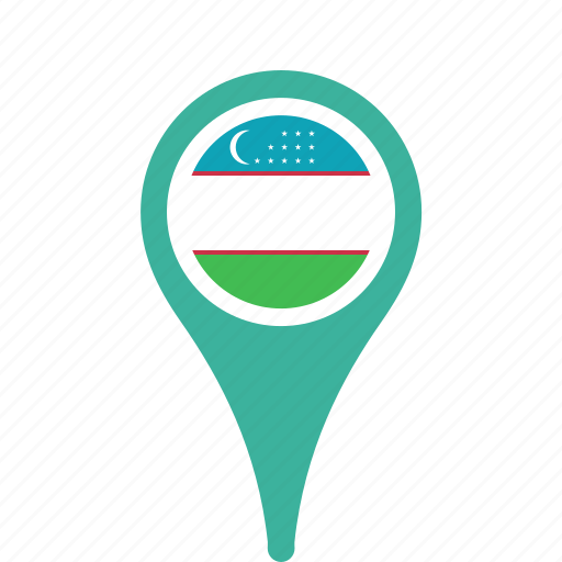 Country County Flag Map National Pin Uzbekistan Icon Icon - Uzbekistan map png