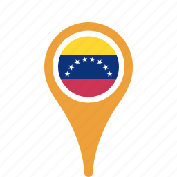 country, county, flag, map, national, pin, venezuela icon