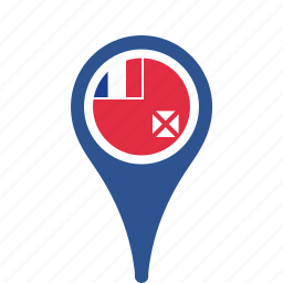 and, country, county, flag, futuna, map, national, pin, wallis icon