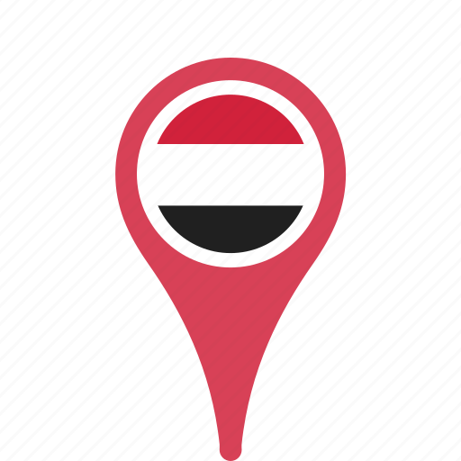 country, county, flag, map, national, pin, yemen icon