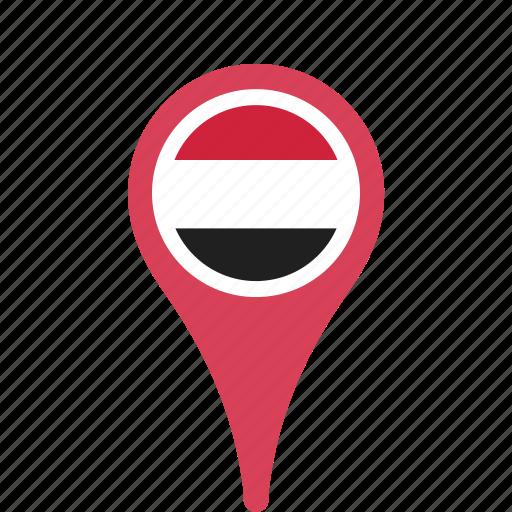 county, flag, map, national, pin, yemen icon