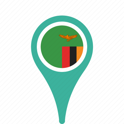 country, county, flag, map, national, pin, zambia icon